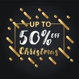 Рождество и счастливый Новый Год уценивают продажу 50% с знамени иллюстрации Стоковые Фотографии RF