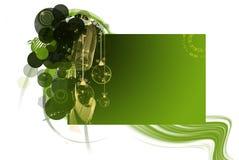 рождество карточки зеленеет текст орнаментов Стоковое Изображение RF