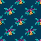 Рождество колокол с смычком в стиле doodle Картина омелы безшовная бесплатная иллюстрация