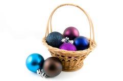 рождество корзины шариков деревянное Стоковые Фото
