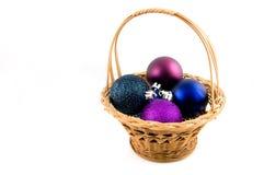 рождество корзины шариков деревянное Стоковое фото RF