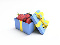 рождество коробки шарика изолированное над белизной Стоковые Изображения RF
