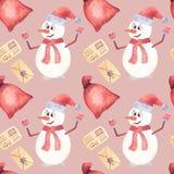 Рождество краски искусства акварели снеговика катаясь на лыжах иллюстрация вектора