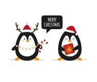 Рождество Милые пингвины с подарками рождества животные счастливые вектор иллюстрация штока