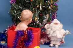 рождество младенца смотря вал Стоковая Фотография