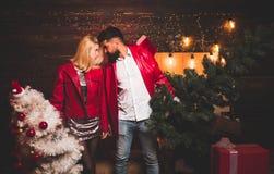рождество моя версия вектора вала портфолио Портрет молодой красивой усмехаясь пары в домашнем настроении рождества Семья Нового  стоковое фото rf