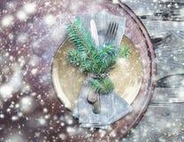 рождество обедая таблица установки Творческий план рождества с Стоковое Фото