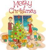 рождество одевая вал семьи счастливый вверх Стоковая Фотография RF