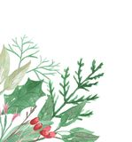 Рождество падуба акварели угловое выходит ягодам праздничная граница Стоковые Изображения