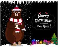 Рождество, поздравительная открытка Нового Года медведя мультфильма в шляпе santa с настоящим моментом на предпосылке ночи снежно иллюстрация вектора