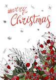 Рождество поздравительной открытки веселое с poinsettia бесплатная иллюстрация