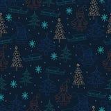 рождество предпосылки безшовное Картина нарисованная рукой с Cla Санты Стоковая Фотография