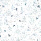 рождество предпосылки безшовное Картина нарисованная рукой с Cla Санты Стоковые Изображения RF