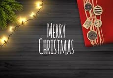рождество предпосылки веселое Ярлык круга с с Рождеством Христовым литерностью на деревенской деревянной доске иллюстрация вектора