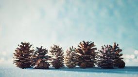 рождество предпосылки красивейшее Конусы сосны на сияющей голубой предпосылке с defocused светами рождества стоковые фотографии rf