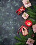 рождество предпосылки праздничное Взгляд сверху Стоковые Фото