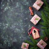 рождество предпосылки праздничное Взгляд сверху Стоковое Изображение
