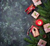 рождество предпосылки праздничное Взгляд сверху Стоковая Фотография