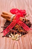 рождество предпосылки spices деревянное Стоковое фото RF