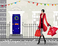 рождество приходит к городку стоковые изображения rf