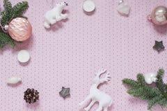 Рождество, рамка предпосылки точки польки пинка Нового Года стоковые изображения