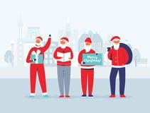 Рождество Санта Клаус на предпосылке городского пейзажа Милые плоские характеры зимних отдыхов Поздравительная открытка с новым г иллюстрация штока