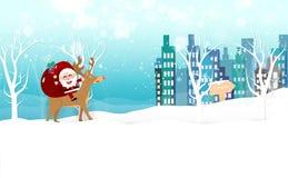 Рождество, Санта Клаус приходит к городку, северному оленю снежинки мультфильма падают, знамени карты сезона зимнего отдыха, торж иллюстрация вектора