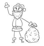 Рождество Санта Клаус с сумкой развевать руки подарков Стоковое Фото