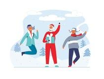 Рождество Санта Клаус с счастливыми людьми на предпосылке Snowy Милые плоские характеры зимних отдыхов счастливое Новый Год иллюстрация вектора