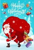 Рождество, Санта носит сорванную сумку подарков иллюстрация вектора