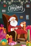 Рождество Санта сидит в стуле, празднике Нового Года иллюстрация вектора
