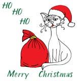 Рождество Санта doodle кота веселое эскиз иллюстрация вектора