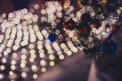 Рождество Света праздника города ночи Стоковая Фотография RF