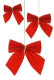 рождество смычка орнаментирует тесемку Стоковые Фото