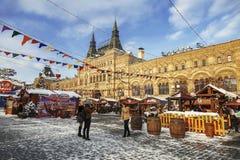 Рождество справедливое на красной площади в Москве стоковые фотографии rf