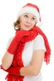 рождество счастливое смотрящ вверх тоскующе женщину Стоковое фото RF