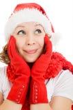рождество счастливое смотрящ вверх тоскующе женщину Стоковые Фотографии RF