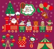 Рождество с парком атракционов Смешной Санта Клаус с животными в поезде игрушки иллюстрация вектора