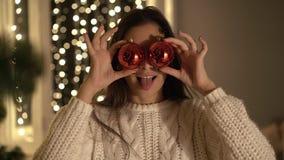 рождество украшает вал девушки акции видеоматериалы
