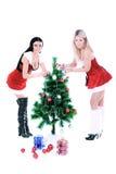 рождество украшая вал девушок милый Стоковое Фото