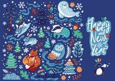 Рождество установило с декоративными животными, каллиграфией и элементами леса также вектор иллюстрации притяжки corel иллюстрация вектора