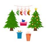 Рождество установило с декоративными объектами зимы иллюстрация штока