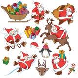 Рождество установленное с Санта Клаусом иллюстрация штока