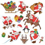 Рождество установленное с Санта Клаусом иллюстрация вектора