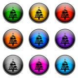 РОЖДЕСТВО цвета кнопки иллюстрация вектора