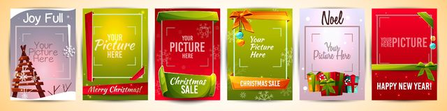 Рождество, шаблоны вектора поздравительной открытки Нового Года иллюстрация вектора