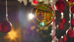 рождество шариков цветастое Комплект изолированных реалистических украшений Стоковые Изображения