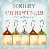 рождество штемпелюет сбор винограда шаблона бирок иллюстрация штока