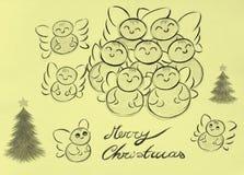 рождество 2 ангелов веселое Иллюстрация штока
