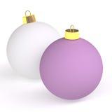 рождество 2 шариков Иллюстрация вектора